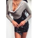 Women's Basic Plain Elegant Long Sleeve Deep V-Neck Cowl Neck Soft Bodysuit