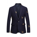 Mens Chic Embroidered Bee Pattern Notch Lapel One Button Flap Pocket Navy Suit Blazer