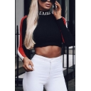 Cool Street Women's Long Sleeve Mock Neck Letter FEMME Contrast Pipe Fitted Crop T-Shirt in Black