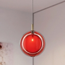 Red Glass Round Hanging Light Kit Macaron 1 Head Pendant Ceiling Light for Bedroom