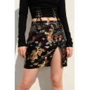 Chinese Style Trendy Black High Waisted Dragon Printed Split Tight Mini Skirt for Girls
