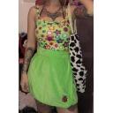 Casual Green Elastic Waist Ladybug Printed Velvet Fit Short Wrap Skirt for Club Girls