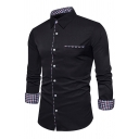 Mens Simple Plaid Patched Long Sleeve Single Breasted Chest Pocket Slim Daily Shirt