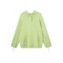 Womens Simple Light Green Plain Long Sleeve Loose Fit Hoodie with Pocket
