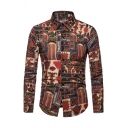 Vintage Tribal Cartoon Floral Geometric Print Long Sleeve Button Up Shirt for Men