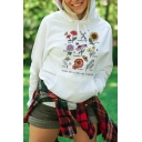Chic Floral BLOOM WHERE YOU ARE PLANTED Print Long Sleeve White Graphic Pullover Hoodie