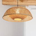 Chinese Style Dome Ceiling Hanging Light 1 Light Bamboo Woven Pendant Light for Living Room, 18