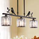 Clear Crystal Drum Shade Chandelier Lamp Modern 3 Heads Hanging Light Fixture with Bird Accent in Black/Gold