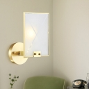 Colonial Rectangle Wall Light 1 Head White Glass Wall Sconce Lighting in Brass for Bedroom