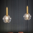 Simple Faceted Ball Pendant Clear Crystal 1-Light Dining Room Hanging Lamp Kit in Gold