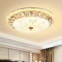 Modernist Lace Flush Light Carved Opal Glass LED Ceiling Flushmount in White with Crystal Accent, 12