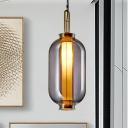 Modernism Urn Pendant Lighting Smokey Glass 1 Head Bedroom Hanging Ceiling Light