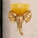 Dome Wall Lighting Colonialist Amber Glass 1 Head Sconce Light Fixture with White/Gold Elephant Nose toward Left/Right