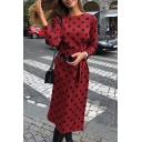 Casual Fashion Polka Dot Printed Round Neck Long Sleeve Tied Waist Midi Dress