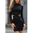 Black Elegant Girls' Long Sleeve Mock Neck Zip Detail Mini Tight Dress