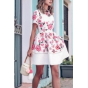 Fancy Cute Girls' Short Sleeve Crew Neck Zipper Back Floral Print Patched Pleated Short A-Line Dress in White
