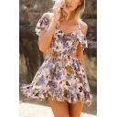 Cute Fashion Girls' Short Sleeve Halter Hollow Out Floral Print Ruffled Trim Pleated Short A-Line Dress in Khaki