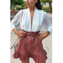 Pretty Ladies' High Waist Belted Leather Pleated Trim Mini A-Line Skirt in Brown