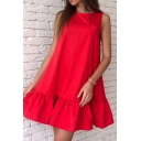 Fashion Cute Women's Sleeveless Crew Neck Zipper Back Ruffled Trim Plain Short Swing Dress