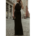 Black Formal Classy Sleeveless Halter Sequined Trim Maxi Evening Column Dress for Ladies