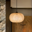 Globe/Oval Hanging Pendant Light Modern 1 Light Handmade Bamboo Hanging Light in Wood
