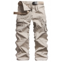 Mens Simple Plain Zip Placket Flap Pocket Straight Leg Pants Cotton Cargo Pants