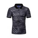 Mens New Trendy Geometric Print Short Sleeve Lapel Collar Slim Fit Polo Shirt