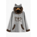 Girls Popular Letter DOG MOM Print Long Sleeve Oversized Thick Cat Ear Tunic Hoodie