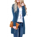 Womens Simple Whole Colored Long Sleeve Button Down Tunic Cardigan Coat