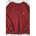 New Fashion Embroidery Planet Pattern Long Sleeve Crew Neck Thick Pullover Sweatshirt