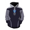 Black Stylish Plaid Patchwork Reactor 3D Print Long Sleeves Loose Fit Pullover Hoodie