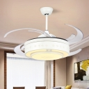 Minimal 8-Blade Drum Fan Lighting Acrylic Integrated LED Semi Close to Ceiling Light in White