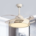 Apricot Round Ceiling Fan Light Simple 6 Speed Metal Semi Flush Lamp with 8 Retractable Blade