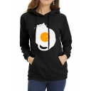 Creative Egg Cat Pattern Long Sleeve Slim Fit Drawstring Hoodie with Pocket