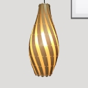 Modern Swirl Hanging Ceiling Light Height Adjustable 1 Light Wood Pendant Lighting, 8