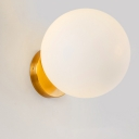 1 Bulb Bedside Sconce Light Minimalist Golden Globe Wall Mount Lamp with Matte White Glass Shade