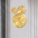 Golden Etched Lotus Leaf Wall Mount Lamp Asian Style Brass 3/6/7 Heads Wall Light Sconce