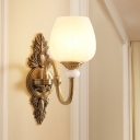 Bowl Shade Hallway Wall Mount Lamp Vintage Style Ivory Glass 1/2-Light Brass Finish Wall Sconce
