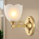 1/2-Bulb Scalloped Wall Lamp Classic Stylish Frosted Glass Sconce Lighting with Golden Metal Arm