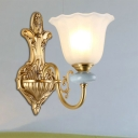 Golden Curved Wall Mount Lamp Antique Stylish Metal 1/2-Light Bedroom Wall Light with Opal Glass Bell Shade