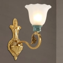 1/2-Bulb Petal Wall Sconce Traditional Stylish Frosted Glass and Green Ceramic Wall Lighting in Gold