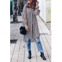 Women's Fashion Black Long Sleeve Lapel Collar Stripe Print Button Down Slit Side Midi Oversize Shirt Dress