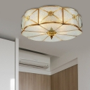 3/4/6 Bulbs Clover Ceiling Mount Colonial Brass Bubble Glass Flush Light Fixture for Bedroom