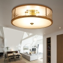 Drum Frosted Crystal Glass Ceiling Mounted Fixture Colonial 3/4/6 Bulbs Bedroom Flush Mount Ceiling Lamp in Brass, 14