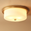 White 3 Lights Flush Mount Fixture Colonialism Frosted White Glass Drum Ceiling Mounted Light for Kitchen