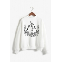 Girls Lovely Fat Cat Printed Long Sleeves Mock Neck Loose White Sweatshirt