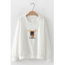 Embroidery AWESOME Letter Deer Pattern Round Neck Long Sleeve Loose Sweatshirt