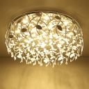 LED Round Flush Mount Lighting Modern Style Chrome Crystal Flushmount Light for Corridor with Leaf Deco
