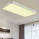 Simple LED Ceiling Mounted Light White Rectangle/Round/Square Flush Light with Crystal Accent, 18.5