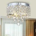 Crystal Ball Drum Ceiling Light Fixture Postmodern 3 Heads Flush Mount Light in Chrome